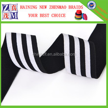 2016 good quality light blue and black striped elastic ribbon
