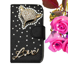 Hot sale luxury wallet leather bling diamond case for nokia lumia 925