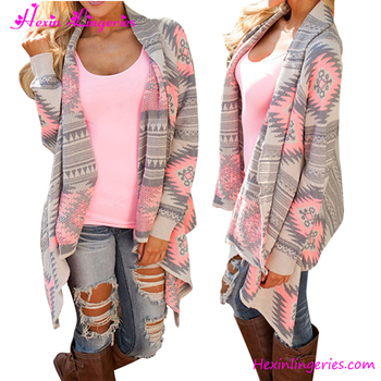 2017 Stylish Warm Printed Knitted Winter Autumn Long Sleeves Sweater Women Cardigan