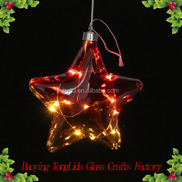 2017 New product led light glass star glass craft hanging Christmas tree decoration