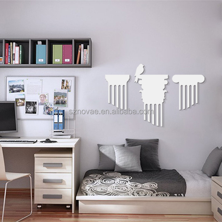 3DM-02W Simple Themes White Bird and Tree Carving Wall Art Eco-friendly 3D Board