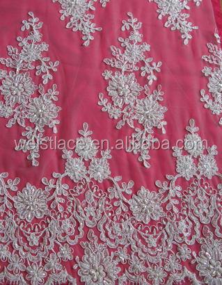 2015 Vintage Fashionable newest design embroidered heavy handwork bead and cords sequin Lace Fabric