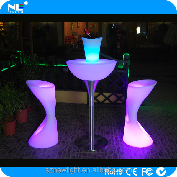 Christmas furniture , waterproof plastic led bar table / led cooktail table / rechargeable led light table use indoor or outdoor