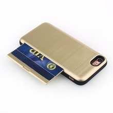 universal wallet case 2 in 1 tpu +pc armor card slot shockproof pc card case cover for iPhone 7 Plus