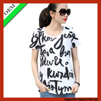 Fashion style strip lady t-shirt with English word print