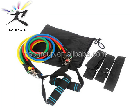 Yoga Fitness Pilates Tubes 11 Piece Set Exercise Resistance Bands