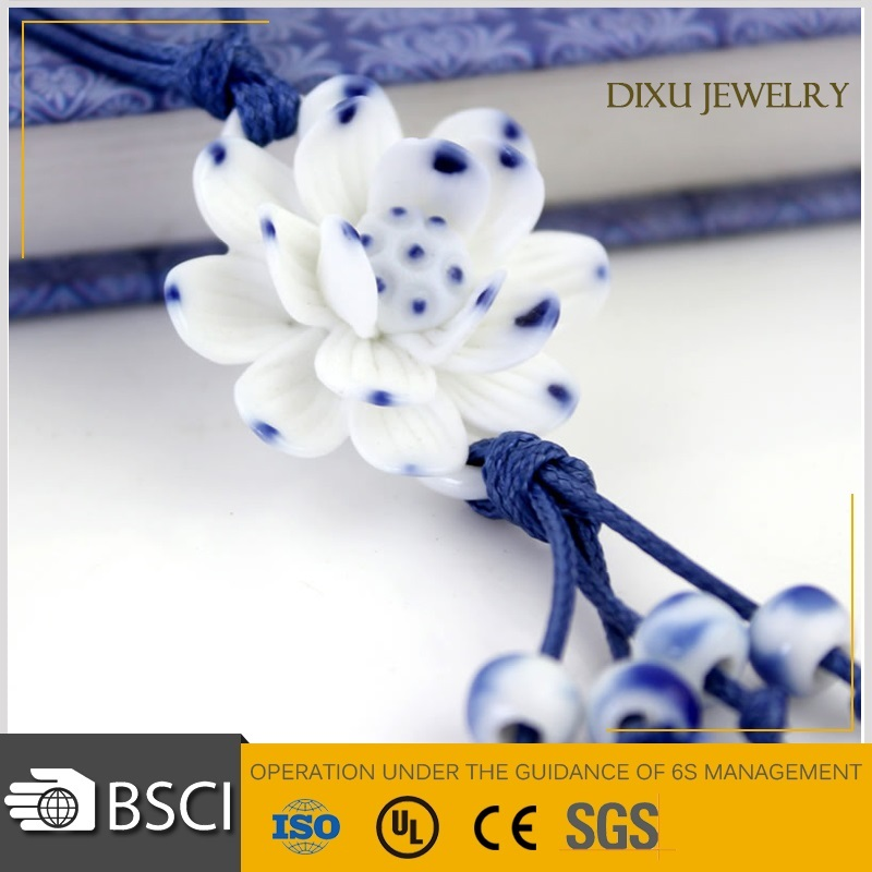 Alibaba HOT Sale fashion jewelry flower blue and white porcelain ceramic Lotus Flower Necklace jewelry
