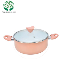 Forged Ceramic Coating Enamel Plastic Casserole Hot Pot with Glass Lid