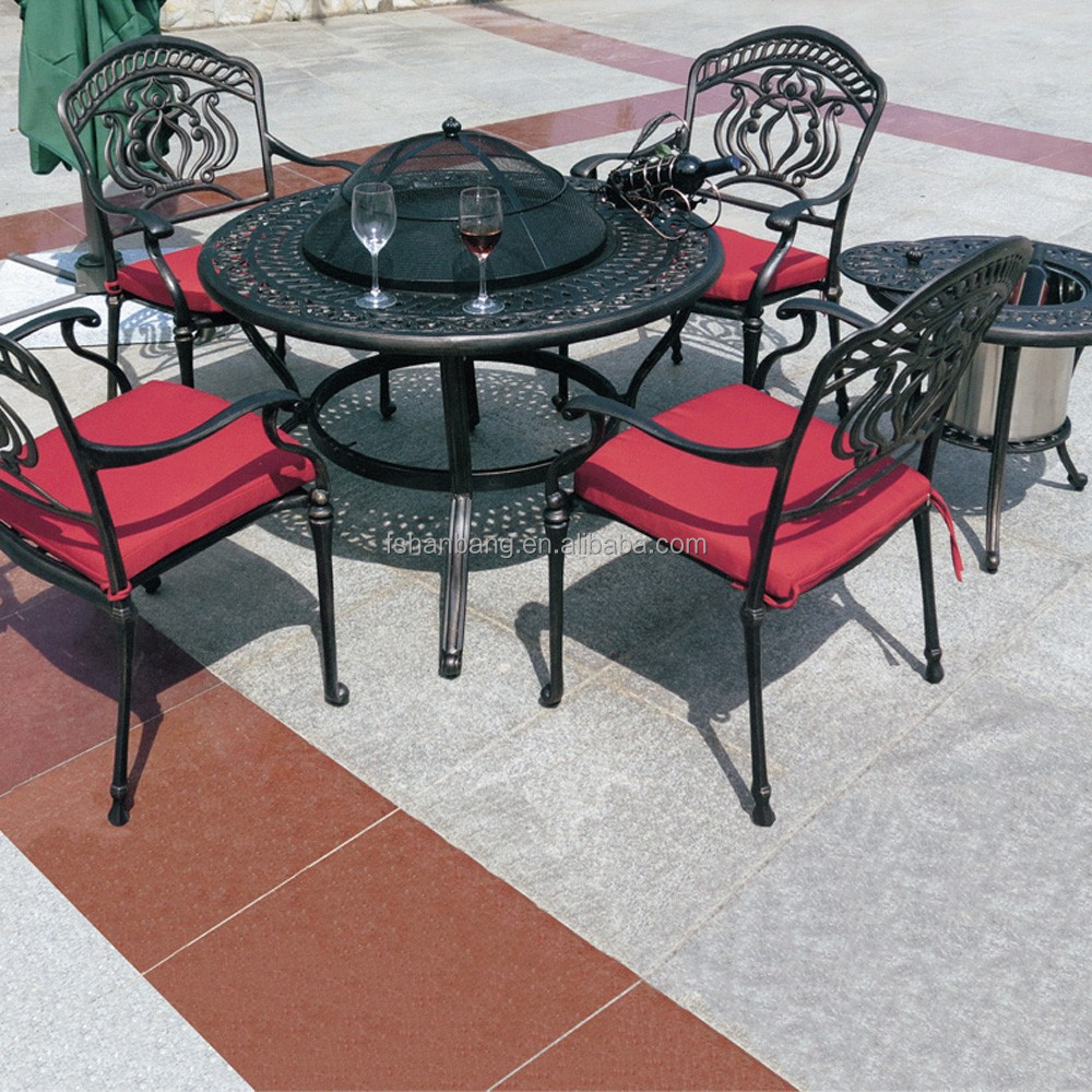 Round Wood Burning Garden Cast Aluminum Wrought Iron Furniture Outdoor Korean BBQ Grill <strong>Table</strong> and Chair Sets with ice bucket