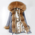 CX-G-P-20A Wholesale Fashion Clothes Women Real Fur Coat Parka Coat Hoody