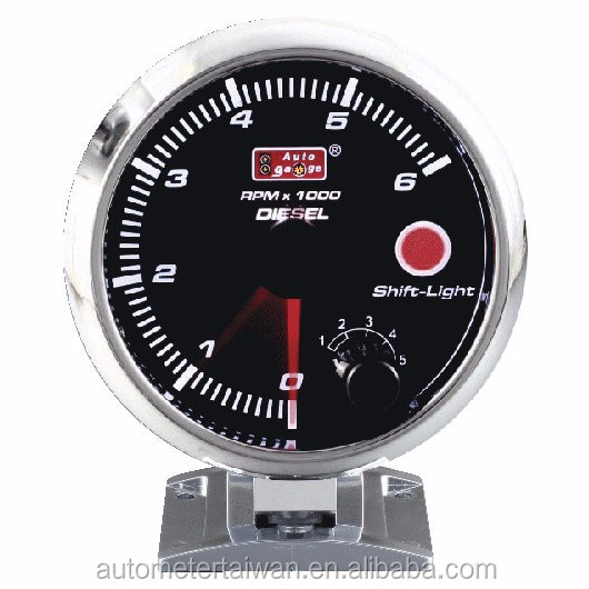 "3 3/4"" Tachometer gauge for diesel with black face &chrome rim / 0~6,000 rpm"