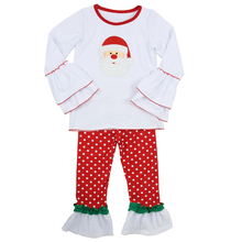 Funncy style long sleeve latest embroidery designs suits 100% cotton children baby christmas ruffle outfits