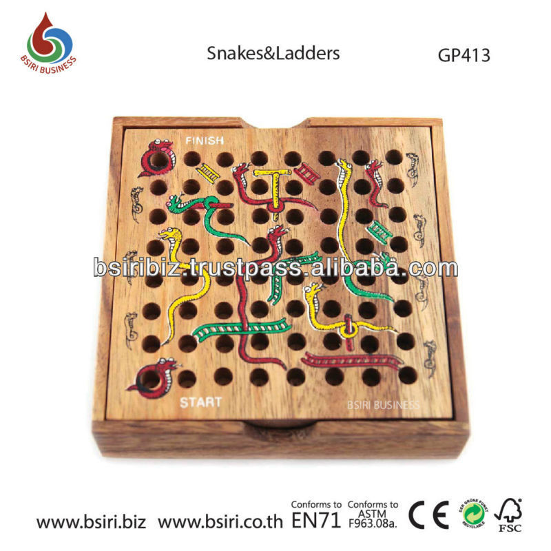 puzzle games wooden Snakes and Ladders