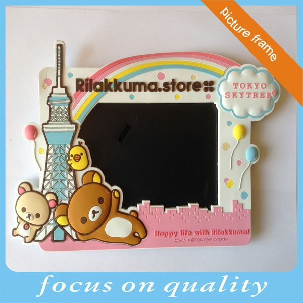 high quality micro injection design recessed relief custom cartoon 3d rubber picture frame desk stand