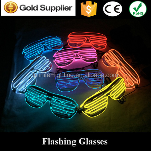 flashing light up glasses/ light up EL glasses/ custom made EL sunglasses with multi colors