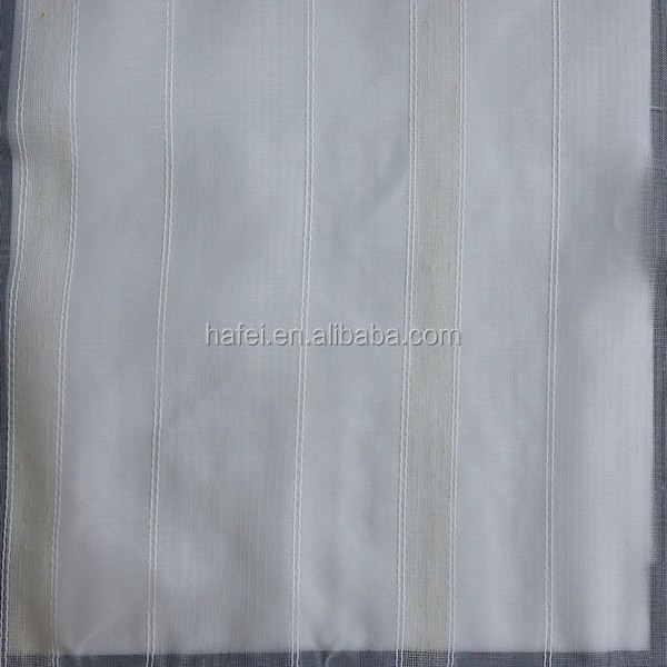 100% polyester sheer fabric poly slub embroidery curtain fabric
