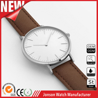 2016 top quality calfskin leather band custom stainless steel japanese movt brand name men wrist watches made in china