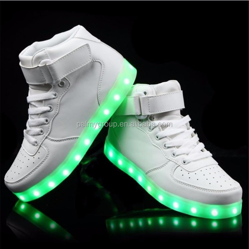 High quality USB Charging 7 Colors LED Luminous Women Men high top LED Shoes For Adults
