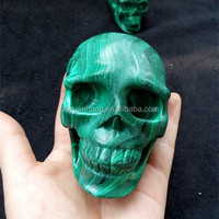 Natural malachite stone skulls,gemstones carved skulls for craft,green peacock stone skulls