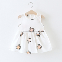 SEVWEN summer children clothes 1-3years high quality chiffon star pattern baby dress