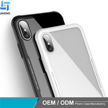2018 New Glass Phone Cases for iphone X , Glass With TPU Back Cover Hybrid Mobile Phone Case For iPhone x 10
