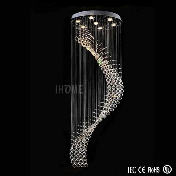 "Modern led Crystal Raindrop Light Fixture ""S"" Stairwell Chandelier"