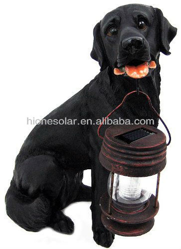 Black Labrador Dog With Solar Powered Classic LED Outdoor Garden Accent Light