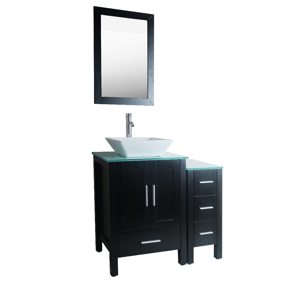 New Designed Bathroom Flexible Combination SOLID WOOD Main Cabinet And Two Side Cabinet With Mirror