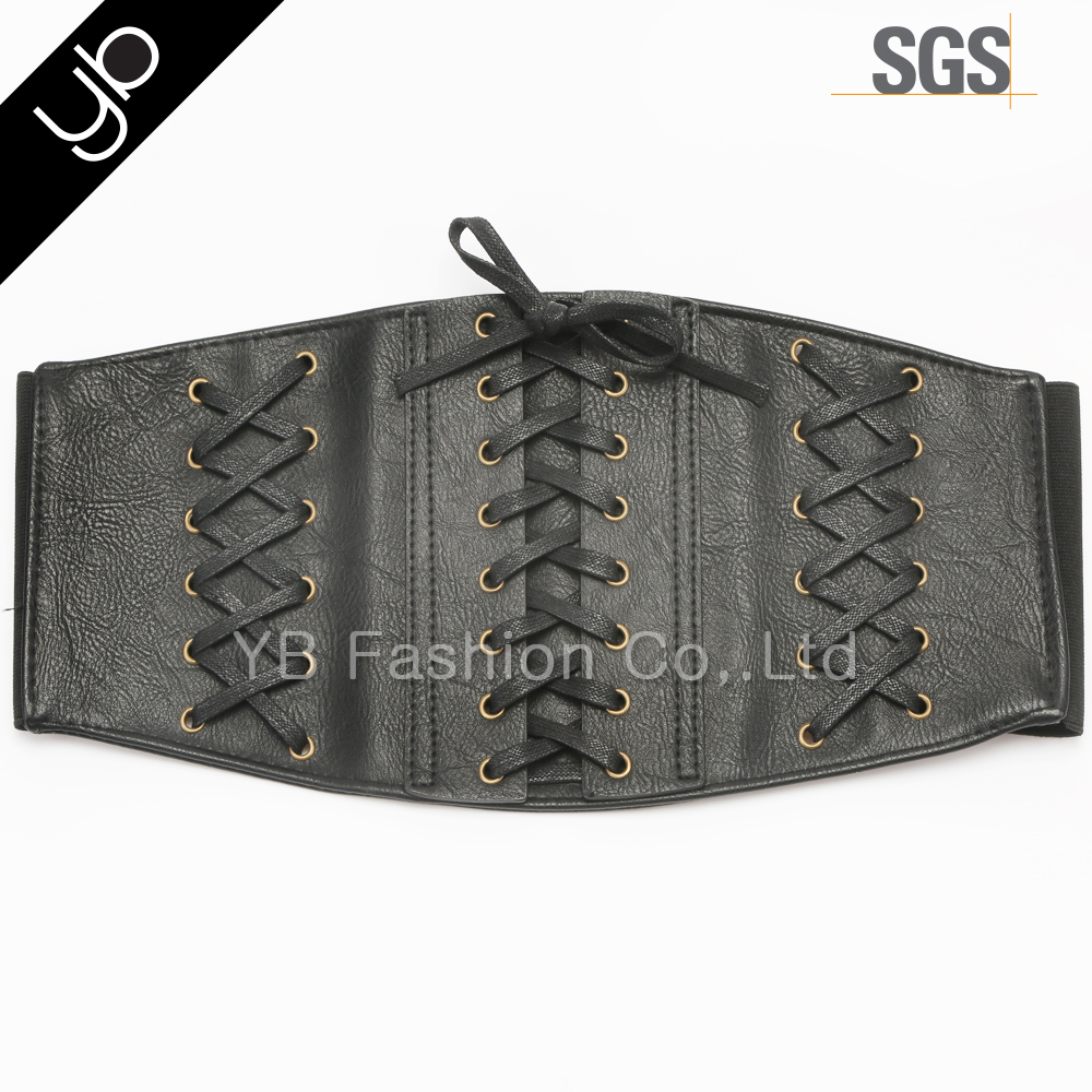 Wholesale 8 steel bones hooks lace up py leather corset waist trainers slimming belt