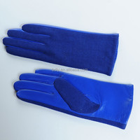 Ladies leather gloves front of the leather and back of the knitted blue gloves