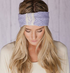 Godbead Lacy Headband in Lilac Lavender Summer Knit Headband Hair Band Open With Vintage Lace in Oatmeal Purple