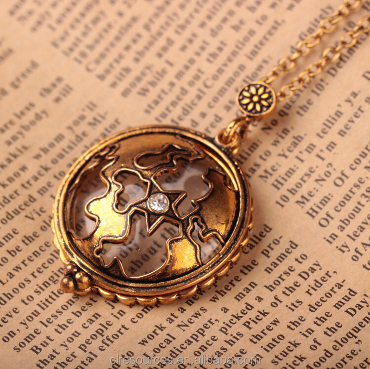 2016 fashion crystal star charm design Magnifying glass necklace