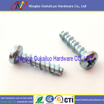 Zinc Plated Phillips Pan Head Hi-Low Thread Screws for Plastic