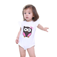 So Cute Applique Owl Pink White Girls Clothes Baby Flutter Sleeve Rompers