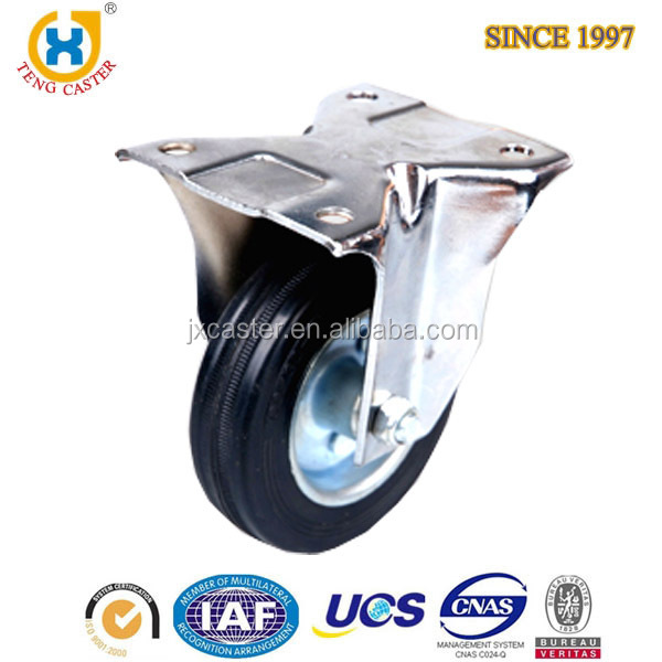 Top-plate rigid Caster with Rubber Wheel,rubber office chair caster,Industrial medium duty caster