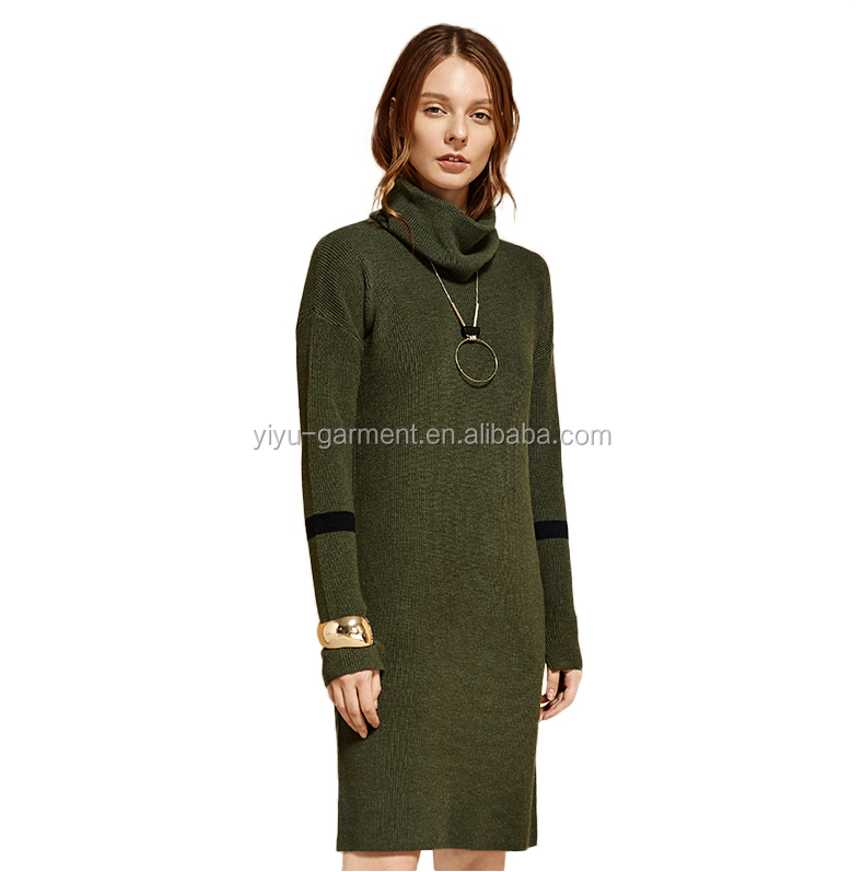 2017 fashion design knitwear ladies green color turtleneck sweater dress for factory price