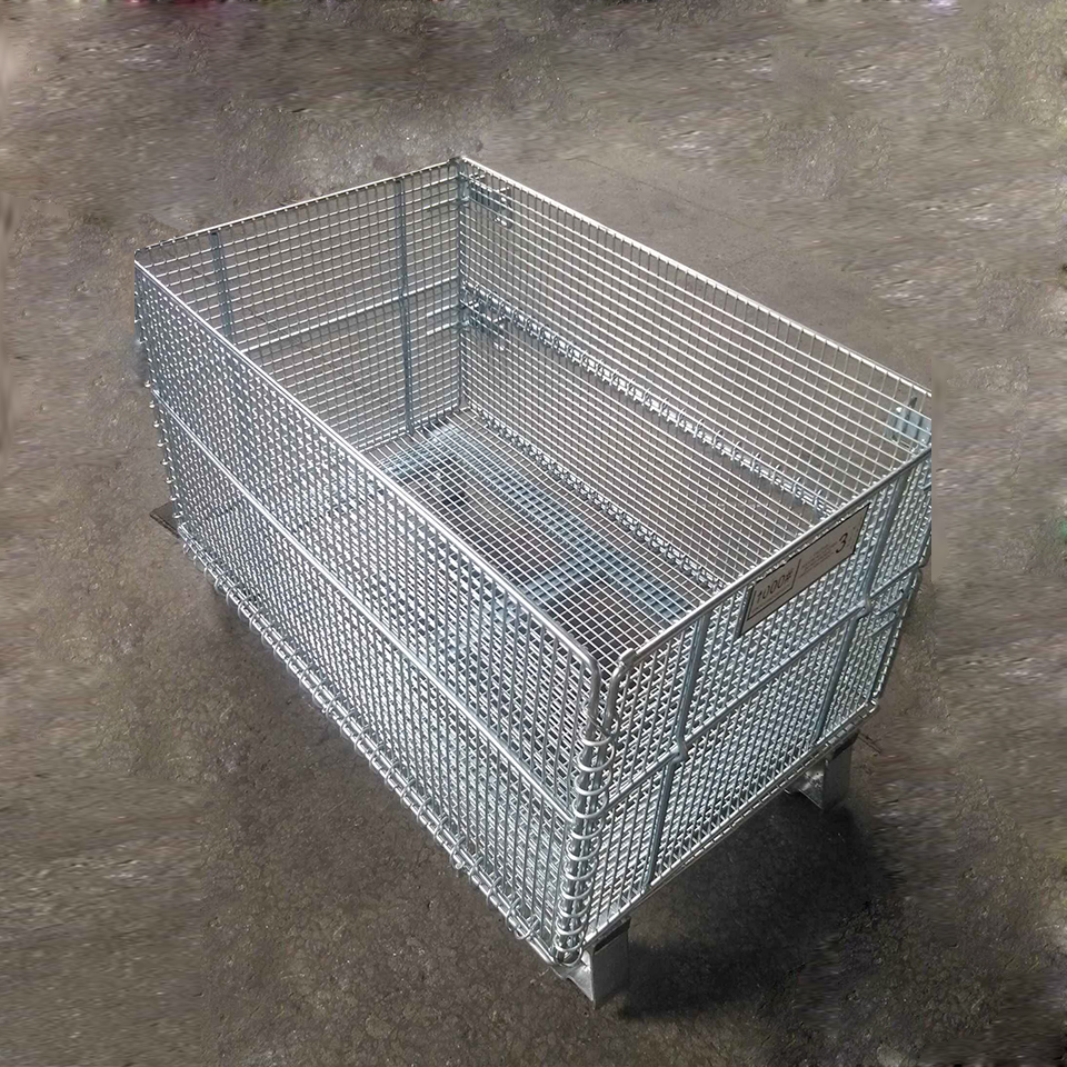 Industrial stackable stillage wire storage mesh box roll containers
