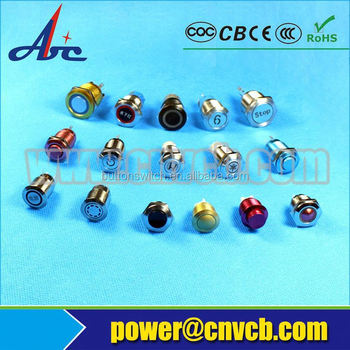 Metal 16mm waterproof PIN terminal dot LED pushbutton switch