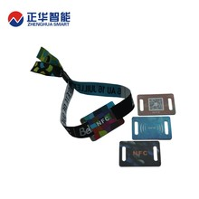 hot sale fabric woven bracelet tag debossed rfid wristband from zhenghua