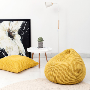 SZPLH Wholesale 100% Acrylic Knitted Bean Bag Chair Furniture Cover With Microbeads Filling