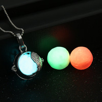 Brass Magic Locket Glow in the Dark Necklace Fragrance Oil Aromatherapy Diffuser Necklace