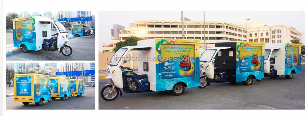 Delivery motorcycle with advertising light box on two sides,mobile signage poster scooter