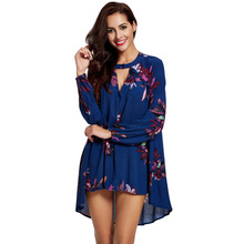 Women Blouse Plus Size Floral Print High Low Asymmetric Hem Deep V-Neck Long Sleeves Sexy Elegant Top Blue