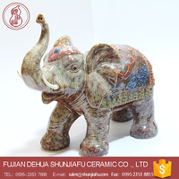 Colorful big ears ceramic elephant statues, Indian elephant decoration