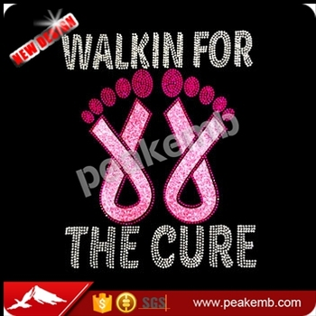 Walking for The Cure Pink Ribbon Rhinestone Transfer for Apparel