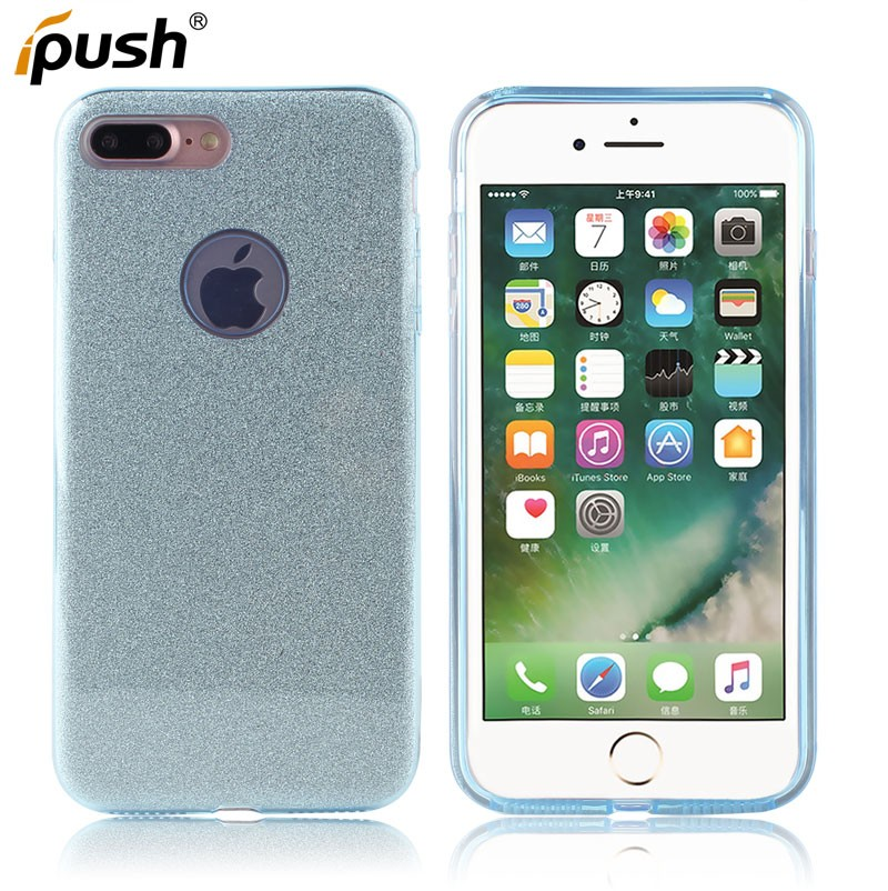 Good quality glitter powder design 3 in 1 TPU+PC+PVC cover protect case for iphone7 plus