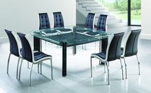 wholesale china 8 seater double layer glass dining table