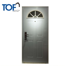 New Design white Walnut color Solid steel Frame Security Door with Glass