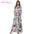 Dropshipping accepted 100% polyester Gracious Long Sleeves Satin Allover Floral Maxi Dress Round Neck