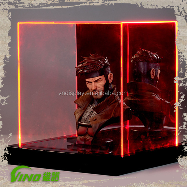 Transparent LED Display Box acrylic lighted display case for hot toys model